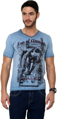Era of Attitude Printed Men's V-neck Blue T-Shirt