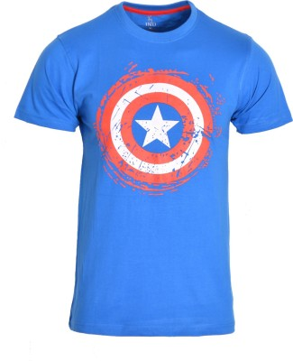 IND CLASSIC Printed Men's Round Neck Blue T-Shirt