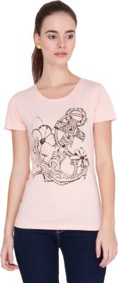 Alibi Printed Women's Round Neck Pink T-Shirt