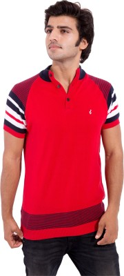 Arbor London Striped Men's Fashion Neck Red T-Shirt