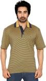 Thinc Striped Men's Polo Neck Yellow, Da...