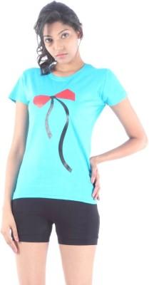 S9 Women Printed Women's Round Neck Blue T-Shirt