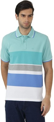 Fahrenheit Striped Men's Polo Neck Green, White T-Shirt