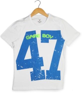 Allen Solly Printed Boy's Round Neck White T-Shirt