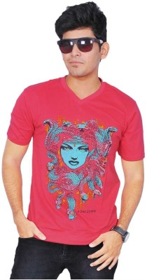A1 Tees Printed Men's Round Neck Red T-Shirt