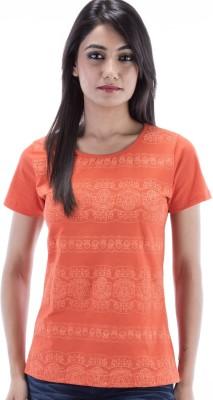 Peppermint Blues Printed Women,s Round Neck Orange T-Shirt