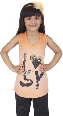Super Young Printed Girl's Round Neck Orange T-Shirt