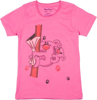 Master Champs Printed Boy's Round Neck Pink T-Shirt