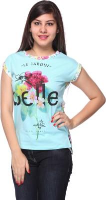 Strawberry Girl Floral Print Women's Boat Neck Light Blue T-Shirt
