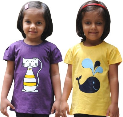 Snowflakes Solid Girl's Round Neck Purple, Yellow T-Shirt