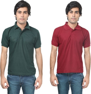 Stylish Trotters Solid Men's Polo Dark Green, Maroon T-Shirt