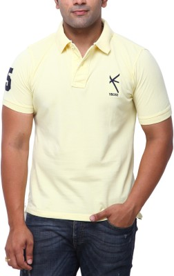 Yross Solid Men's Polo Neck Yellow T-Shirt