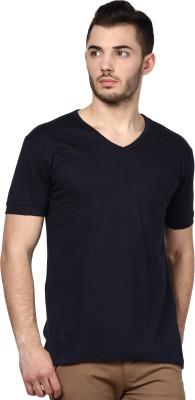 Inkovy Solid Men's V-neck Dark Blue T-Shirt