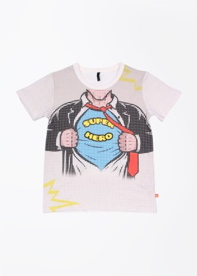 UCB Printed Boy's Round Neck Beige T-Shirt
