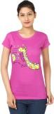 Vivaa Printed Women's Round Neck Pink T-...