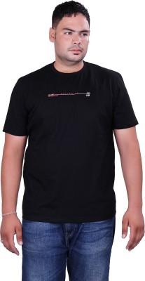 Vivid Bharti Printed Men's Round Neck Black T-Shirt