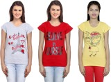 IndiStar Printed Women's Round Neck Grey...