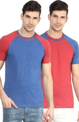 Yellow Submarine Solid Men,s Round Neck Red, Blue T-Shirt