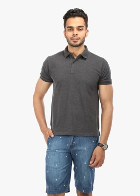 Wear Your Mind Solid Men's Polo Neck Grey T-Shirt