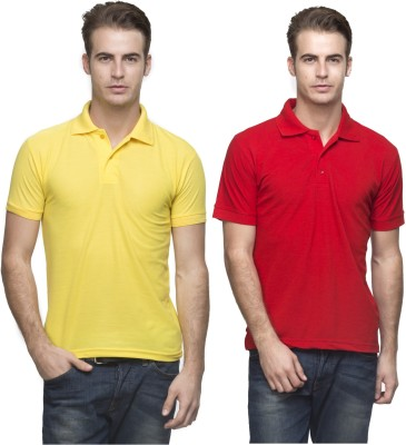 Lambency Solid Men's Polo Neck Yellow, Red T-Shirt