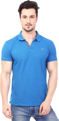 Rugby Solid Men's Polo Neck Blue T-Shirt