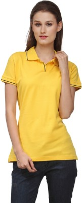 Scilla Solid Women's Polo Neck Yellow T-Shirt