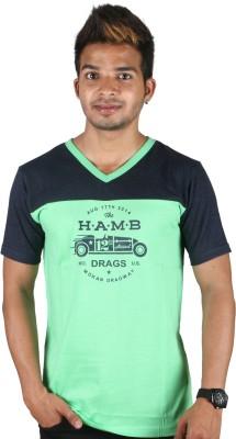 Tree Printed Men,s V-neck T-Shirt