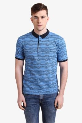 Alvin Kelly Printed Men's Polo Neck Blue T-Shirt