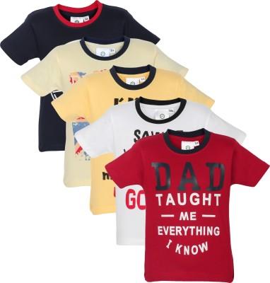 MamaMia Printed Boy's Round Neck Yellow, Red, Blue, White, Yellow T-Shirt