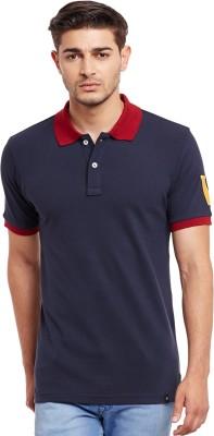 The Vanca Solid Men's Polo Neck Blue T-Shirt