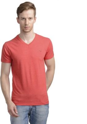 WRIG Solid Men's V-neck Red T-Shirt