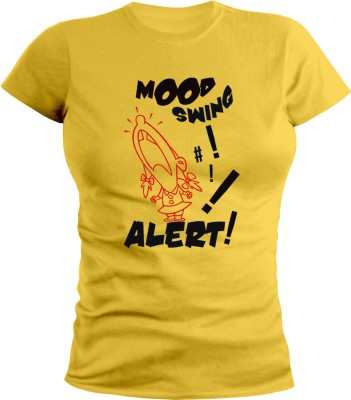 Sleeve Up Graphic Print Women's Round Neck T-Shirt