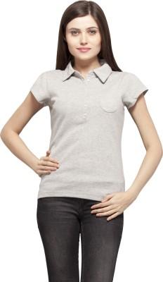 Color Cocktail Woven Women's Flap Collar Neck Grey T-Shirt