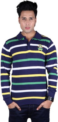 Dezyn Striped Men's Polo Neck Blue T-Shirt