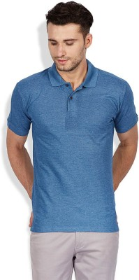 FLAH Solid Men's Polo Neck Blue T-Shirt