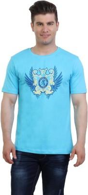 Monkie Printed Men's Round Neck Blue T-Shirt