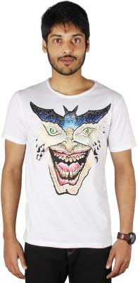 Palmtint Self Design Men's Round Neck White T-Shirt
