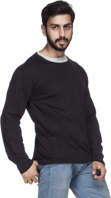 Demokrazy Solid Men's Round Neck Black T-Shirt