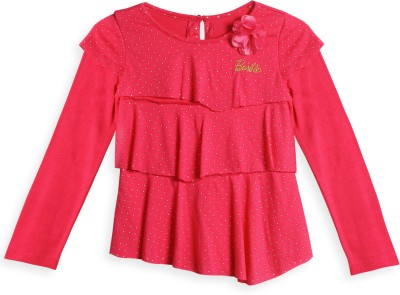 Barbie Embellished Baby Girl's Round Neck Pink T-Shirt