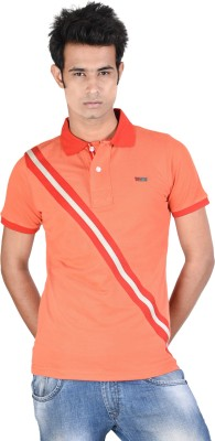 Juene Solid Men's Polo Neck Orange, Red, Grey T-Shirt