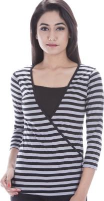 Peppermint Blues Striped Women,s V-neck T-Shirt