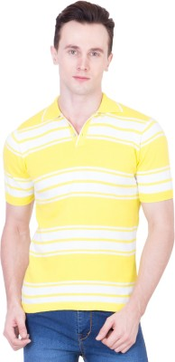 Ganzm Striped Men's Polo Neck Yellow T-Shirt