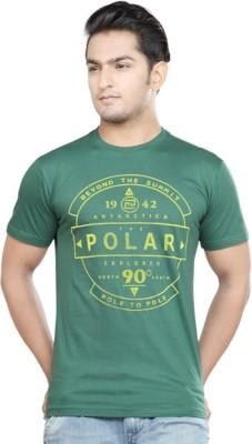 Afylish Printed Men's Round Neck Green T-Shirt