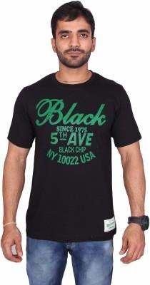 Black Chip Printed Men's Round Neck Black T-Shirt