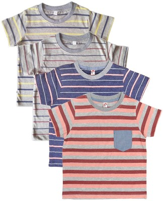 Orange and Orchid Striped Boy's Round Neck Multicolor T-Shirt
