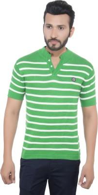 GreyBooze Striped Men's Henley Green, White T-Shirt