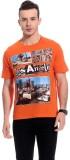 TAB91 Printed Men's Round Neck Orange T-...