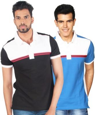 Provogue Solid Men's Polo Neck Multicolor T-Shirt