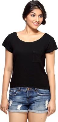 Loco En Cabeza Solid Women's Round Neck Black T-Shirt