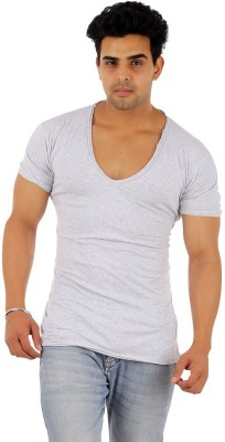 Male Basics Solid Men's Scoop Neck Grey T-Shirt